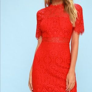 Lulu red lace dress